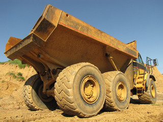 Large Yellow Dump Truck Backside