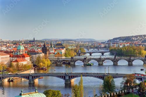 Poster View on Prague Bridges at sunset