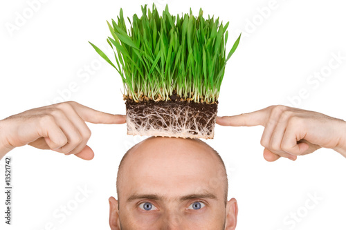 Man with grass for hair