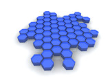 Hexagone bleu en réseau fond blanc poster