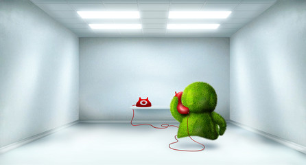 green character calling someone in the big white room