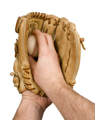 Baseball pitcher holding ball in glove, isolated on white