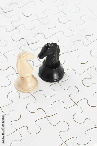 White and black knights and jigsaw puzzles