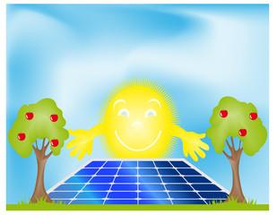 pannello fotovoltaico con sole