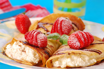 pancakes with cheese and strawberry