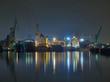 Gdansk shipyard at night