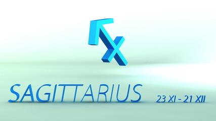 3d rotating sagittarius zodiacal symbol, loopable