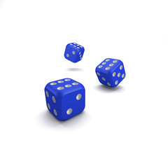 lucky blue dice on white background