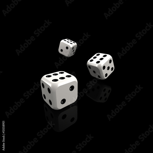 lucky white dice on black background