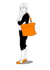 Girl with big orange bag