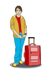 A teen-age boy standing near his travel bag