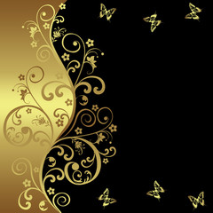Elegant background with black and golden flowers
