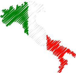 italie avec drapeau gribouillé