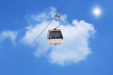 A cable car with a blue background