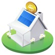White American House MoneyBox with solar panel in garden
