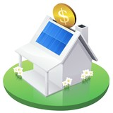 White American House MoneyBox with solar panel in garden poster