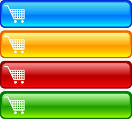 Shopping  glossy buttons. Vector illustration.