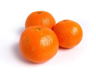 Organic Tangerines on white background