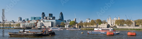 Panoramic picture of the City of London across the River Thames.