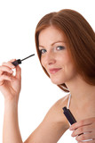 Body care series - Smiling red hair woman applying mascara poster
