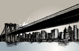 Fototapety bridge and city hand drawing vector