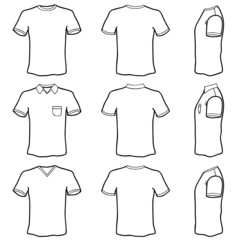 t shirt template set (front, back and side view)