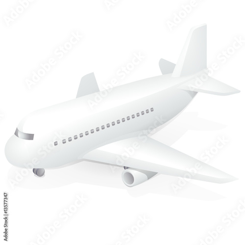 Avion commercial blanc (reflet)