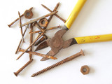 Rusty tools and fixings. poster