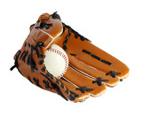 Brown baseball glove and white ball on a white background