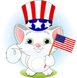 White kitten holding American flag. Fourth of July illustration poster