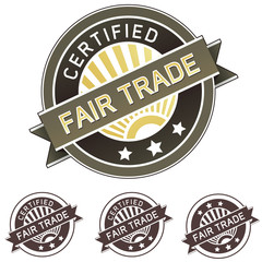 Certified fair trade product label sticker for packaging