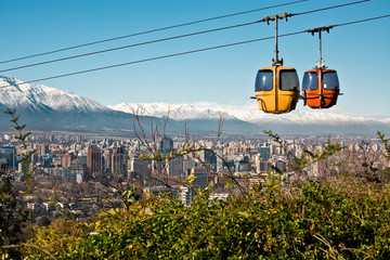 Cable car in San Cristobal hill, Santiago de Chile