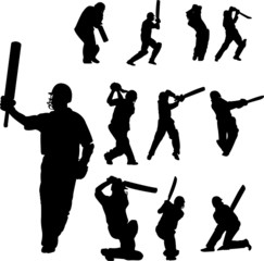 cricket players collection  - vector
