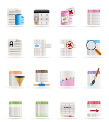 Database and Table Formatting Icons - Vector Icon Set