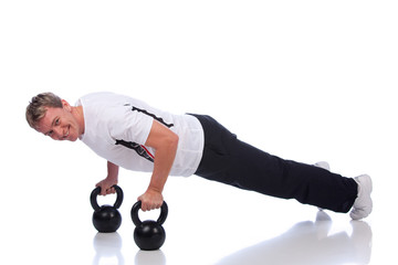 sportsman doing push-ups