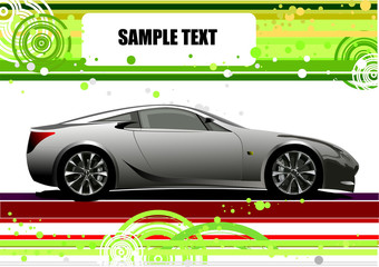Green and Yellow doted  background with car image