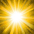 Rays from the sun making a yellow sunburst with stars background