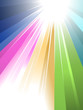 Sunburst in rainbow style reaching your message