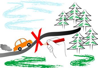Go by car into wood forbidden