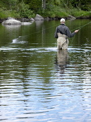 Flyfishing in action
