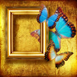 golden framed background with butterflies