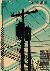 Funky graphic a featuring telephone pole.