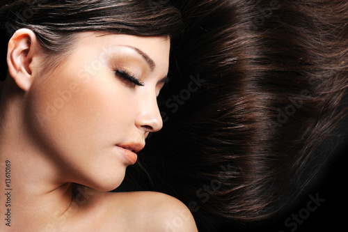 female face with long beauty hair