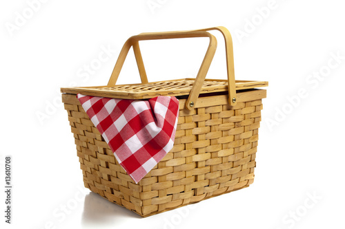 Fotobehang Picknick Picnic Basket with Gingham