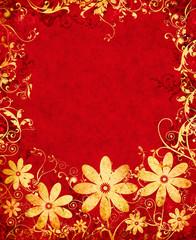 Golden Grunge Flowers