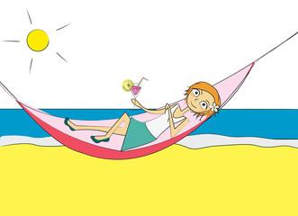 femme hamac plage