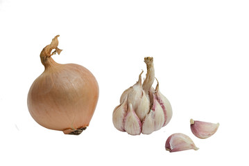 Onion, garlic bulb and cloves isolated on whie background