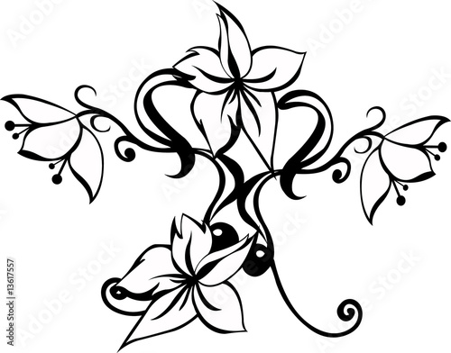 Flowers tattoo tribal stylized