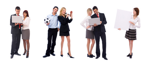 team of different business people