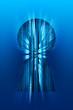 Blue keyhole with binary data transmission